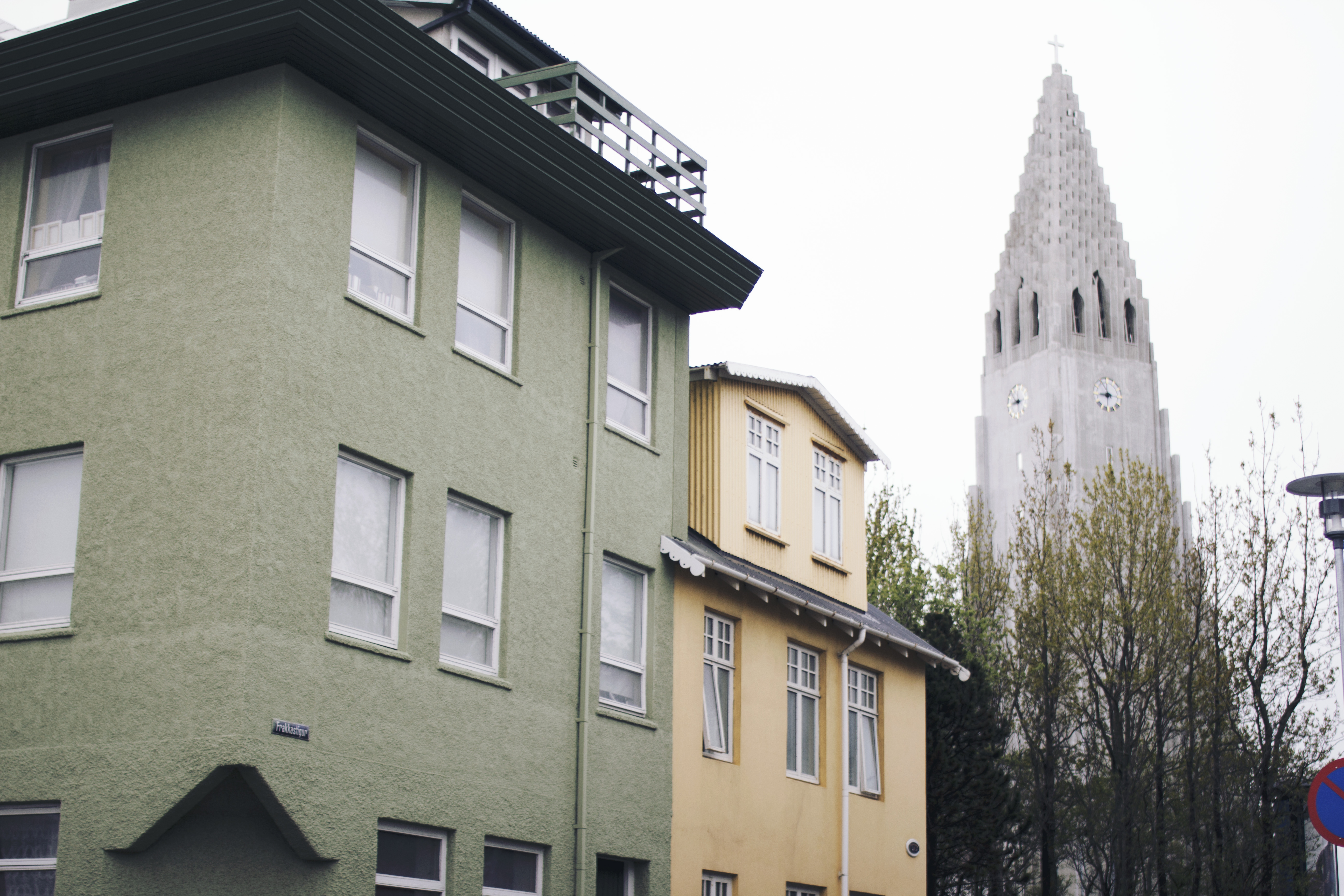 Hallgrímskirkja, the largest church in Iceland, sits in the main square of  Reykjavik, looming over the city with its gigantic steeple.